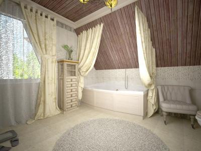 Ванная в стиле кантри, проект Дом у леса